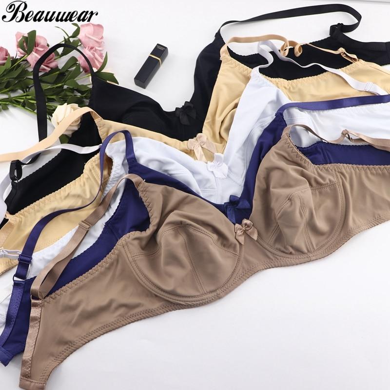 Beauwear Women Comfort Bras V-neck Full Coverage No Padding Underwire Minimizer Bra C D DD E DDD F Cup Unline Plus Size Bh 36-52