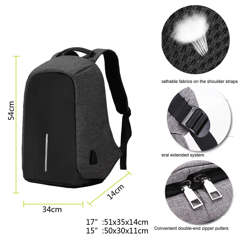 15.6 calowy plecak na laptopa dla MacBook Pro 15 z zabezpieczeniem przeciw kradzieży 17.3 calowy plecak na laptopa plecak mężczyźni/kobiety Oxford wodoodporny notes Bag