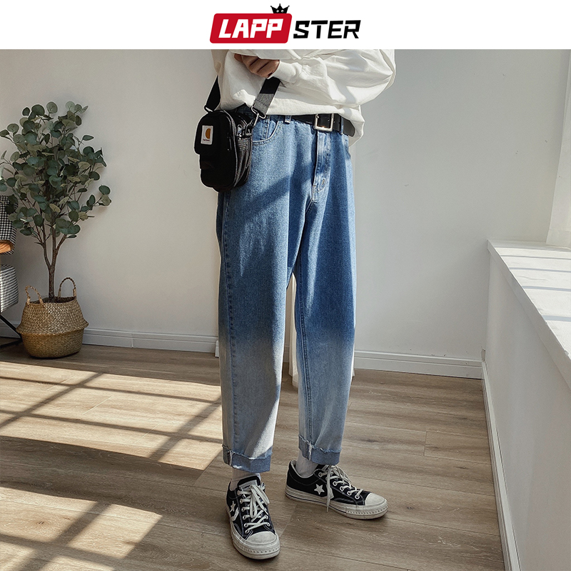 LAPPSTER Men Gradient Color Blue Jeans Pants 2020 Mens Japanese Streetwear Denim Pants Male Patchwork Fashions Harem Pants 5XL