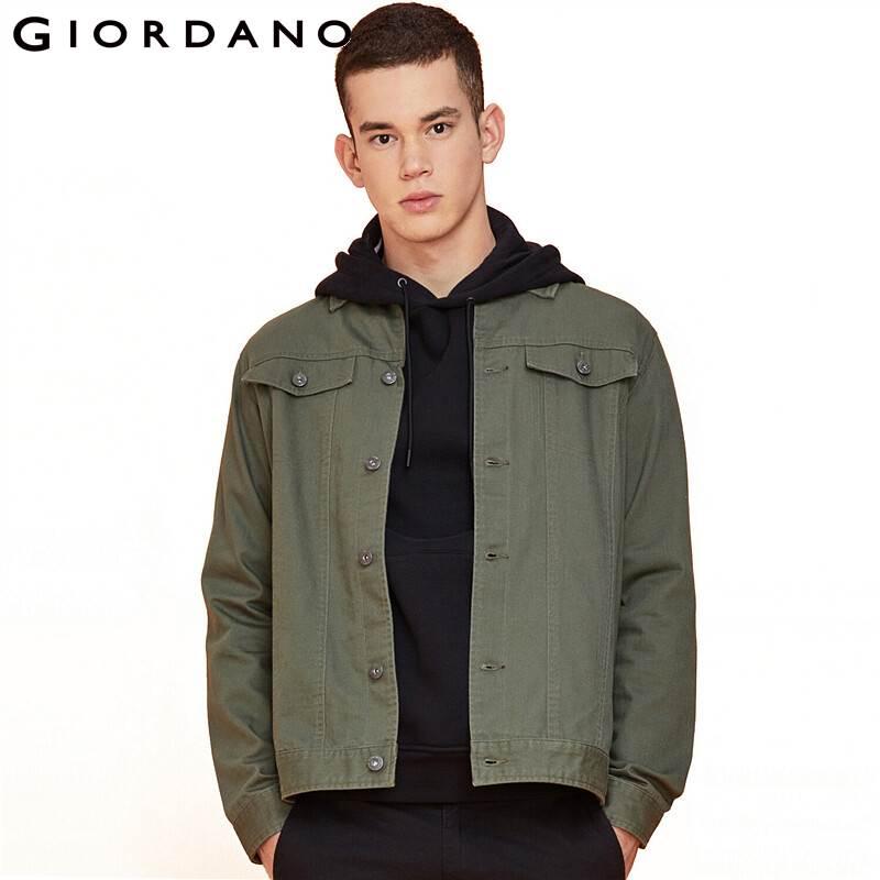 Giordano Men Jackets 3D Flap Pockets Cargo Long Sleeve Jacket Cotton Classical Turn Down Collar Button Jaqueta Masculin 13079819