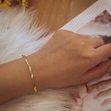 Nowy modny płaski wąż łańcuch bransoletki dla kobiet oświadczenie złote linki Charm bransoletka moda akcesoria do biżuterii 2020 prezenty