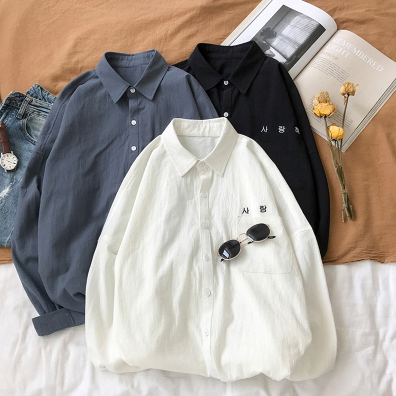 Coréen lettre imprimer solide lâche chemises femmes à manches longues col carré Vintage chemise blanc gris noir Blouses haut
