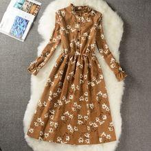 Весенне-осеннее модное уютное вельветовое платье средней длины винтажное платье с принтом студенческое милое женское офисное платье для работы плюс размер 117