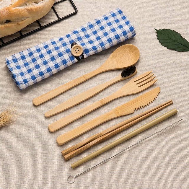 Reusable Bamboo Cutlery Set for picnic Wood Knives Fork Spoon Chopsticks Travel Cutting Bag Dinnerware Sets Cooking Kitchen Tool