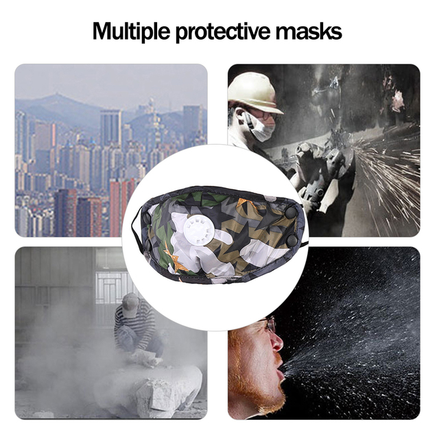 1PCS PM2.5 Washable Mouth Mask With Breathing Valve Anti Haze Dust Mask Nose Filter Windproof Face Anti Bacteria Flu 4