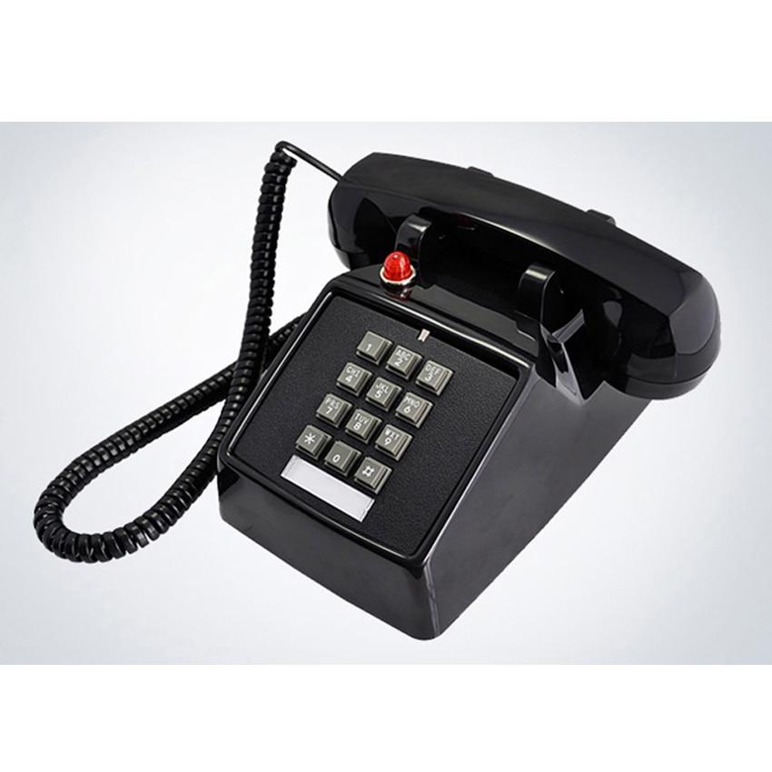 Téléphone de bureau filaire à Interface double ligne avec sonnerie forte, Flash de lumière rouge, téléphone fixe rétro à 1 combiné pour la maison, le bureau