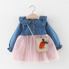 New Autumn Baby Girl Dress 0-3T Cute Toddler Bow Decoration Solid Color Korean Style Long-sleeved Girls Denim
