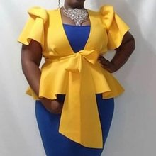 Plus Size Falbala Deep V Neck Light Yellow Blouse Sexy 2019 Summer Fall Short Sleeve Tunic Bowknot Peplum Ruffles African Top