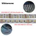 Двухрядная Светодиодная лента 5050 RGB CCT DC/24 В (60 светодиодов/м 5050 RGB + 2835 светодиодов/м Вт/WW )/5 в 1 RGB + CCT + WW светодиодная Водонепроницаемая светиль...