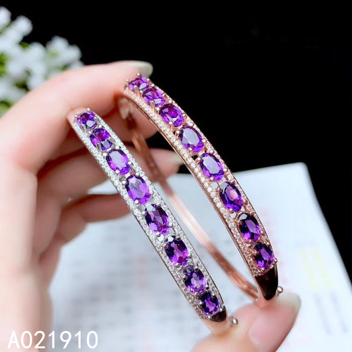 KJJEAXCMY boutique jewelry 925 sterling silver inlaid natural Amethyst female bracelet support detection popular classic