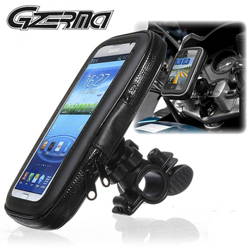 GZERMA Universal Bicycle Motorcycle Phone Holder Waterproof Zipper Pocket Cell Phone Handlebar Mount Moto Bike Stand Support Bag