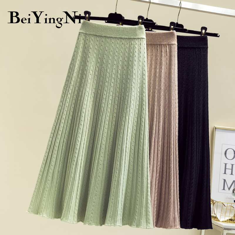 Beiyingni New Arrival Knit Skirt Women Solid Vintage Fashion Pleated Midi Skirts Ladies Knitted Soft Korean Skirt Faldas Mujer