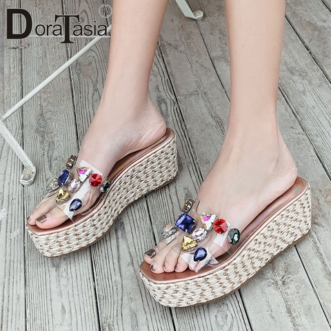 Сланцы doratasia женские прозрачные Повседневные Удобные туфли