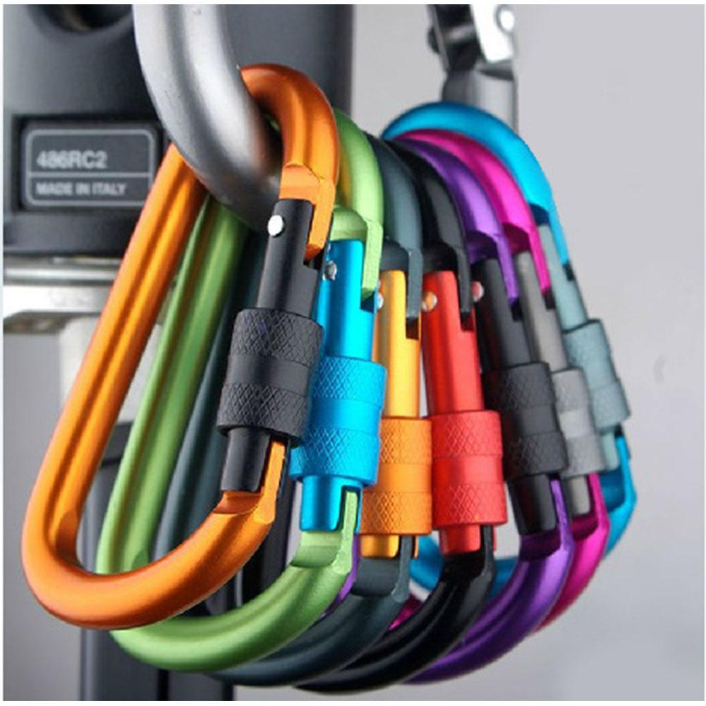 Outdoor Climbing Carabiner D-Ring Clip Hook Buckle Aluminum Alloy Survival Gear Camping Mountaineering Lock For Bag Water Bottle