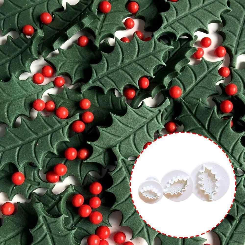 3 قطعة/المجموعة 3D هولي أوراق يترك كوكي الغطاس أقراص سكرية Sugarcraft العفن كعكة الديكور العفن أدوات الخبز