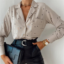 Button Shirt Pockets Polka Dot Print Casual Women Blouse Ladies Long Sleeve Turn Down Collar Office Work Blouses 2021 Autumn Top