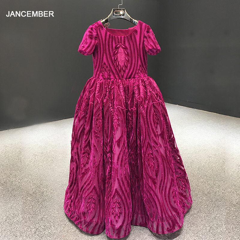 J66723 Jancember Flower Girl Dresses For Weddings O Neck Short Sleeve Ball Gown Red Prom Dresses For Girls Bloemenmeisjes Jurken