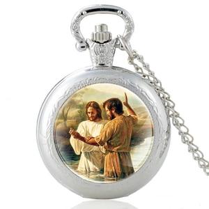 Классические часы с изображением Иисуса Христа крестились, Классические кварцевые карманные часы серебристого цвета с подвеской, часы для ...