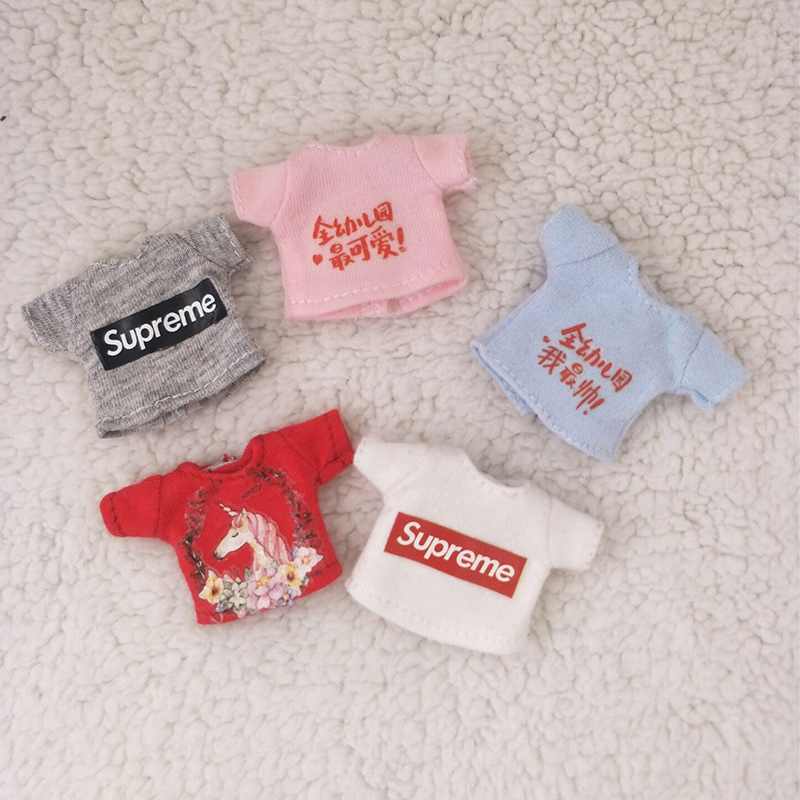 Ob11 Doll Clothes Short-sleeved T-shirt With 1 / 12bjd Doll Clothes Molly Cute Top Doll Clothes Accessories Toys Pants