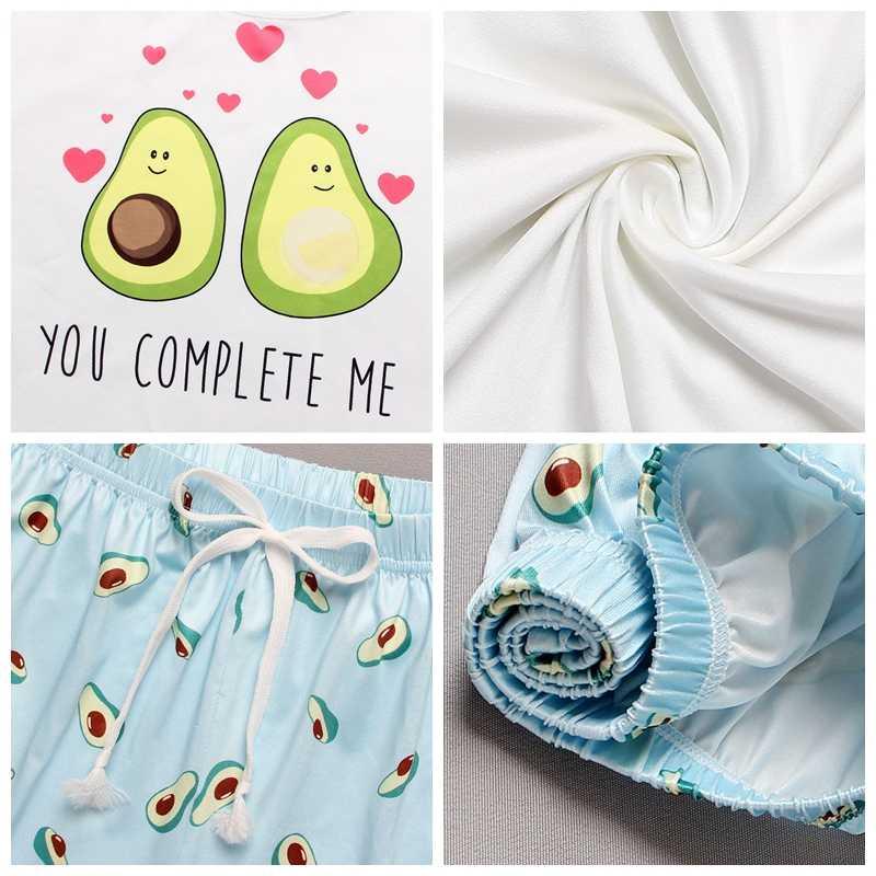 여름 여성 잠옷 만화 인쇄 Tshirt 및 심장 탄성 허리 반바지 캐주얼 잠옷 세트 라운드 넥 반팔 홈 마모