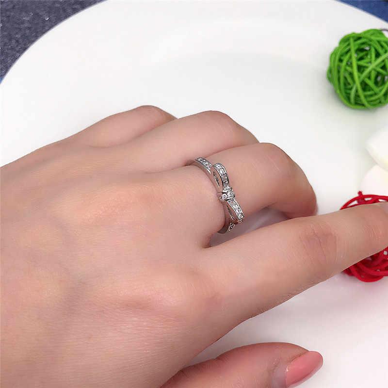 Mariposa joyas anillos de moda anillos de boda Color plata claro europeo mujeres anillos nudo arco brillante anillo