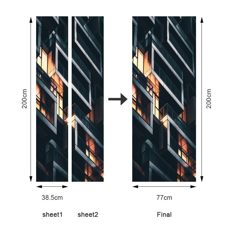 Plusieurs Paysages Modernes 3D Porte Autocollant PVC /Étanche DIY Auto-adh/ésif Papier Peint Home Design D/écor Stickers Muraux 2 pcs//Ensemble 90x200cm DZMT085