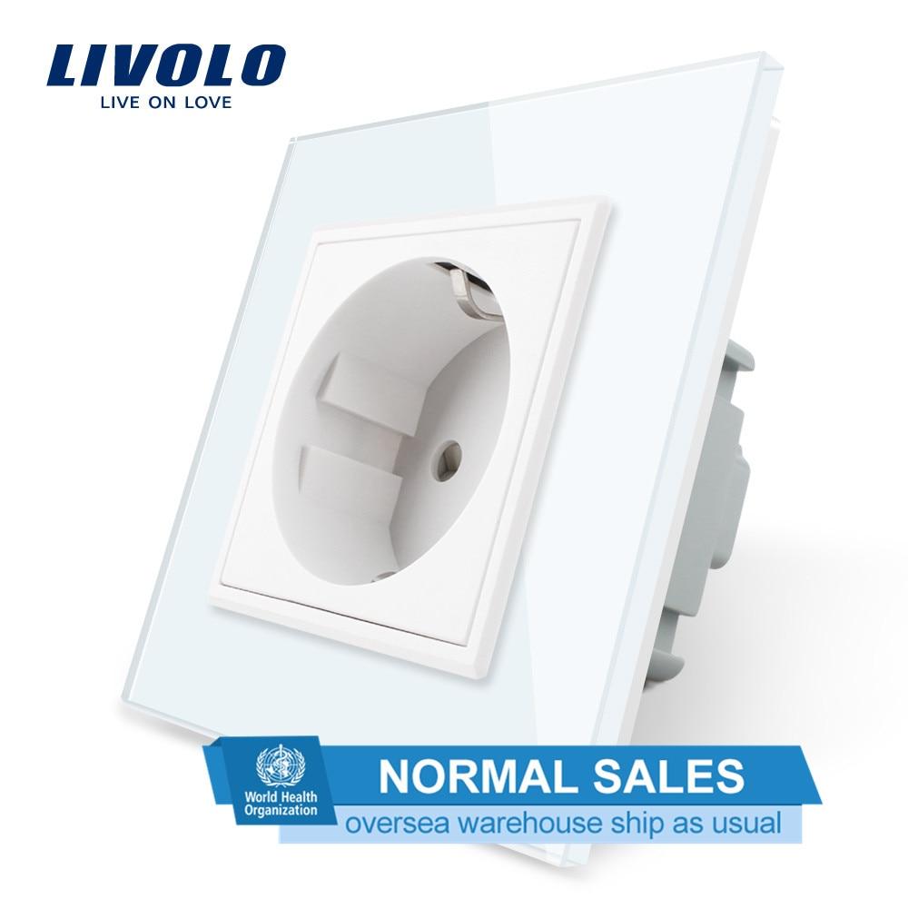 Livolo EU Standard Steckdose, Weiß Kristall Glas-Panel, AC 110 ~ 250V 16A Wand Steckdose, VL-C7C1EU-11, keine logo