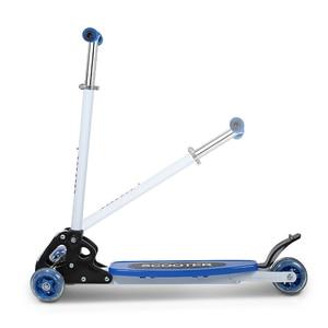 Image 5 - Scooter round four 4 wheel roller skates fold baby Children slippery car shipping skuter trottinette for kids with shine wheel