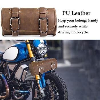 Universal Motorcycle Saddle Bags Motorcycle Front Side Saddle Tool Bag Waterproof PU leather Luggage Pannier Barrel Storage bag ring detail saddle bag