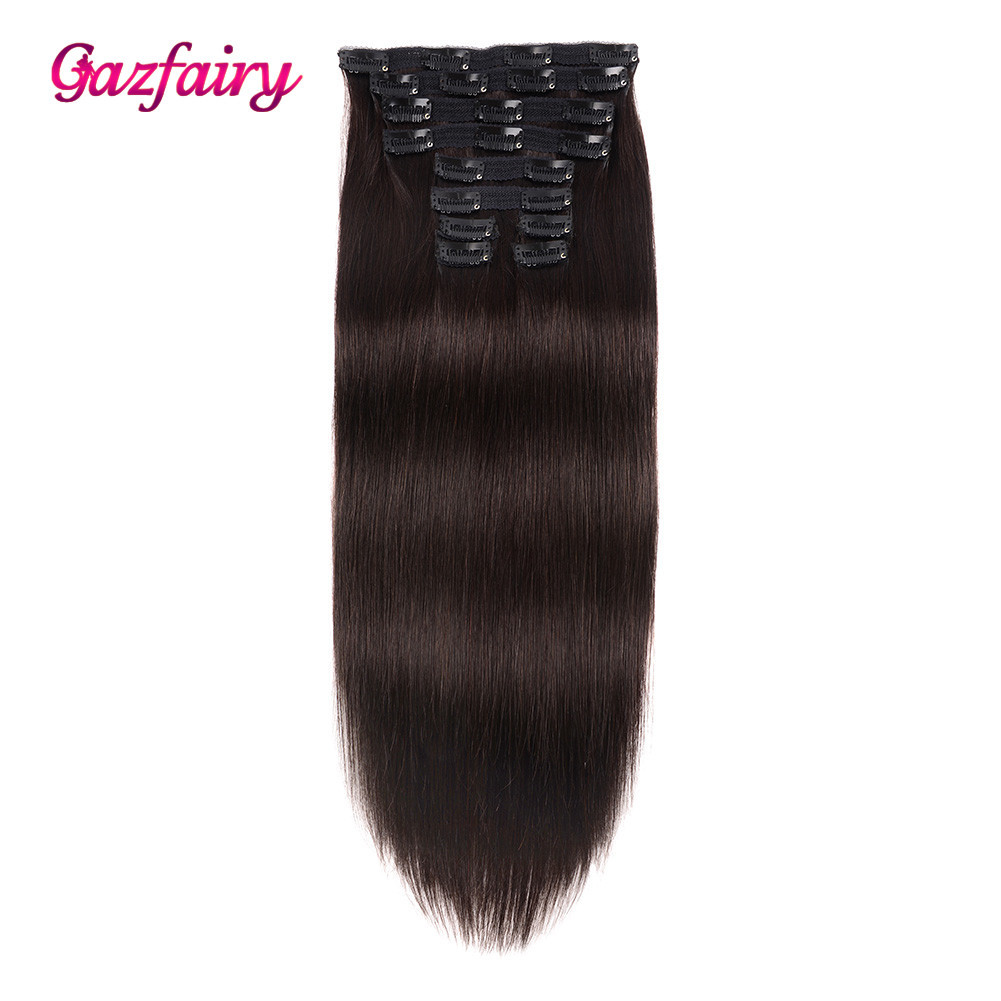 Gazfairy 100% Real Human Hair Clip In Remy Hair Extensions Double Weft Silky Straight Style 16-22'' 10Pcs/Set Full Head Clip Ins