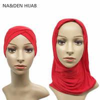 1set Criss cross tube hat scarf set Muslim Headscarf set Islamic inner Caps & hijab Modal Women Hijab Stretch Cap and Scarf set