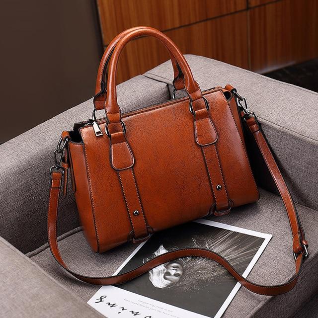 100% Genuine leather Women handbags Cow Leather Bag Ladies Genuine Leather Handbags Big Women Bags Large Vintage Female  Office 3