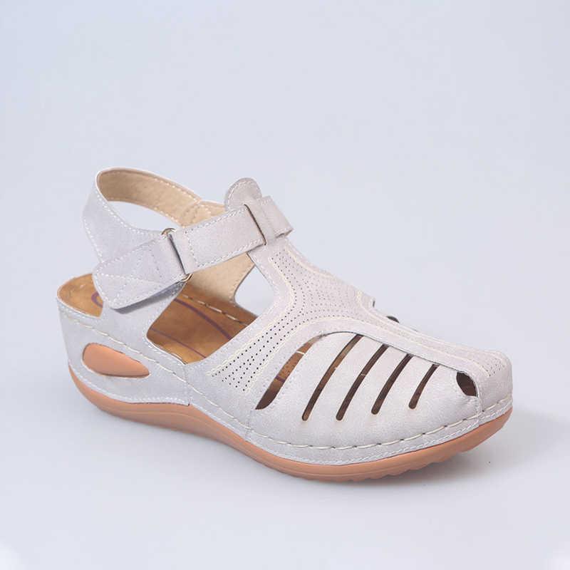 ฤดูร้อน PU หนัง VINTAGE ผู้หญิงรองเท้าแตะสบายๆเย็บผู้หญิงรองเท้าผู้หญิง Peas รองเท้าผู้หญิงใหม่รองเท้า 34 -44