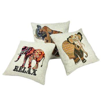 Etniczna obicia na poduszki 45*45cm słoń indyjski bóg koń specjalne elementy designu odzieży na zewnątrz krzesło domowe Sofa Decor talia poszewka tanie i dobre opinie Mycojines CN (pochodzenie) PRINTED Bez wzorków HANDMADE Zwierząt Plac DEKORACYJNY Seat SAMOCHÓD Chair Y9515 Płótno Bawełna