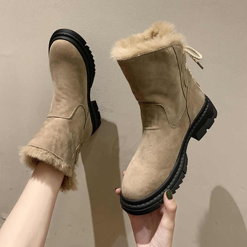 D404 kışlık botlar kadın platformu kadın sıcak Botas Mujer patik ayak bileği kadın kar botları Chaussure şişeler Femme