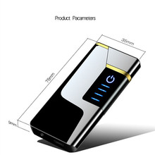 metal fingerprint touch cigarette rechargeable arc pulse usb flameless lighters with gift  lighter plasma electric