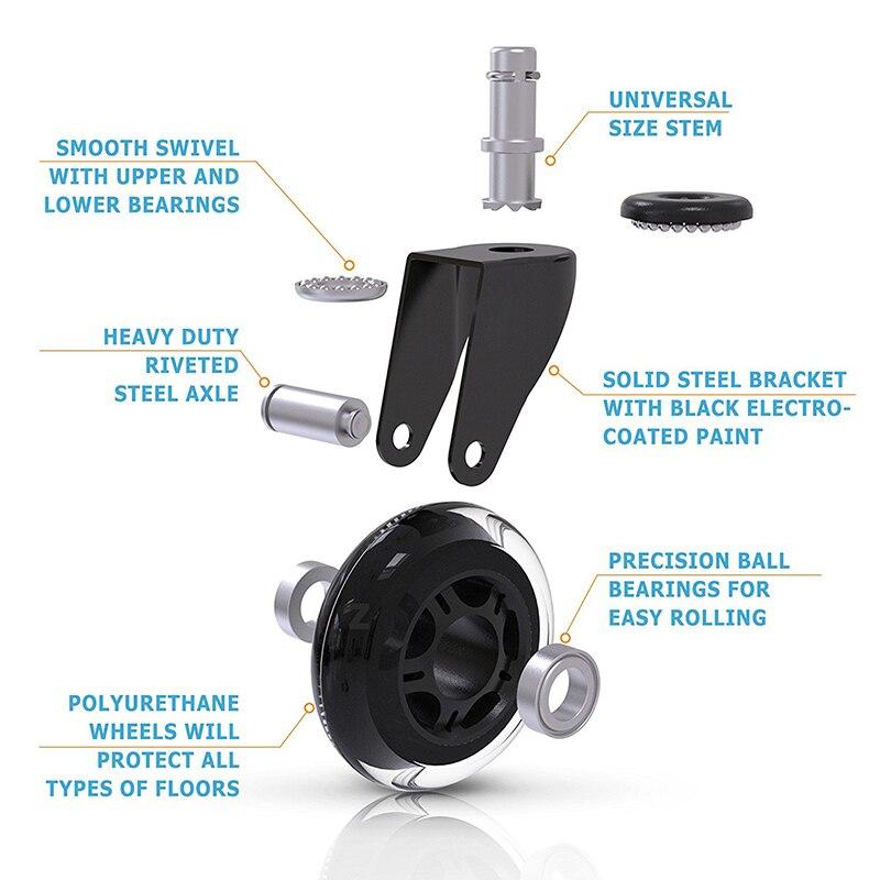 Rodas de cadeira de escritório, 5 unidades, estilo castor, lâmina de rollerblade, substituição da roda (2.5/3 polegadas)-2