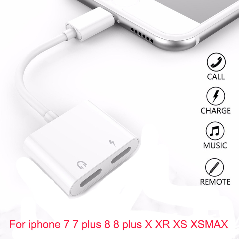 2 In 1 Dual Jack Aux Adapter White Splitter Cable For IPhone 8 7 Plus Charging+Audio Support Mic Call For Iphone X XS Max XR