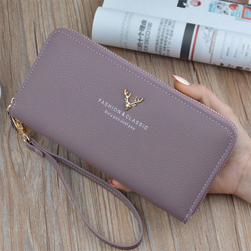 Wallet Women 2019 Quality Female Purse Female Wallet PU Leather Long Purse Black/pink/blue/green/gray Famous Brand Designer