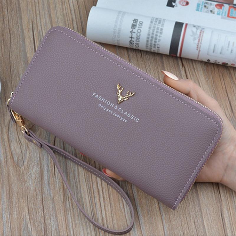 Wallet Women 2019 Quality Female Purse Female Wallet PU Leather Long Purse Black/pink/blue/green/gray Famous Brand Designer