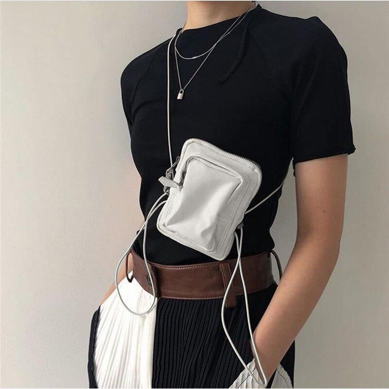 Women Chest Bag Personality Drawstring Mini Slant Bag Street Shoulder Bags Strap Mobile Phone Bags Fashion Casual Fanny Pack