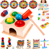 1Set Wooden Hammering Ball Hammer Box Children Fun Playing Hamster Game Puzzle Toy Early Learning Educational Toys Tangram