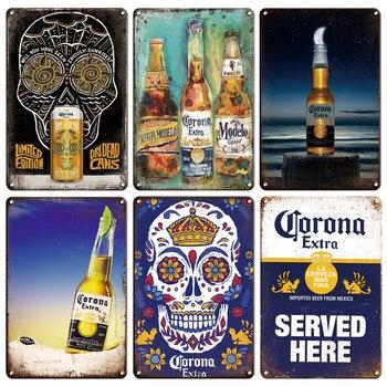 CORONA EXTRA Metal Tin Sign Vintage Beer Poster Decorative Plaques Retro Pub Bar Decor Plate Skull Metal Sign Wall Stickers
