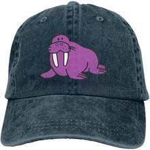 Мужская и Женская бейсбольная кепка с регулируемой джинсовой тканью s фиолетовая моржовая простая Кепка