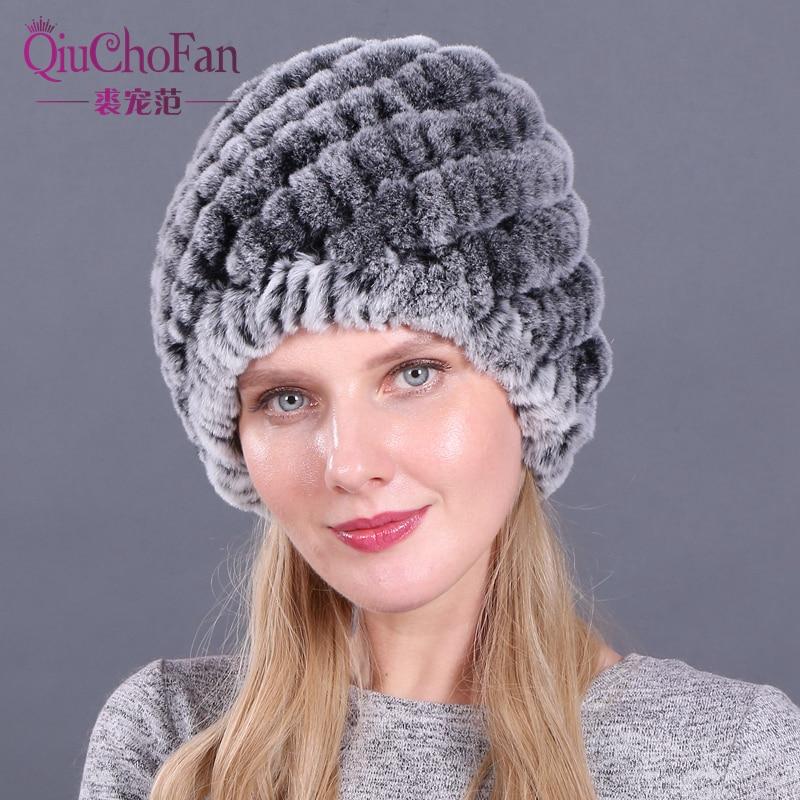 Natural Rex Rabbit Fur Hat Elastic Knitted Cap With Stripe Design Handmade Real Fur Hat Ladies Headgear Fashion Women Hat