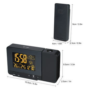 Hot Multifunctional Digital LCD Screen Radio-Controlled Alarm Clock with Weather Station Calendar Dual Alarm USB Charging