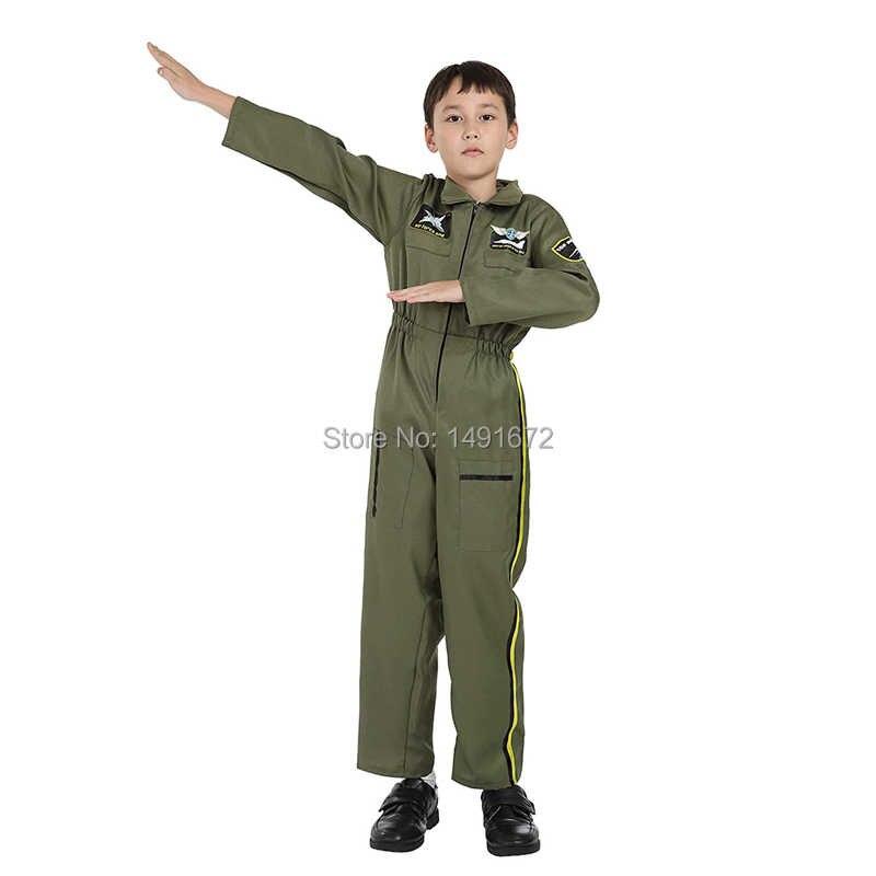 เด็กชุดสูท Pilot Top Gun เครื่องแต่งกาย Air Force ชุดชุด ArmyGreen Jumpsuit Coverall สำหรับชายหญิงฮาโลวีน