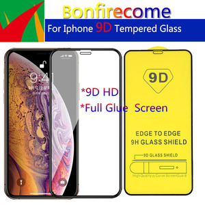 Image 1 - 10Pcs\Lot 9D Full Glue Curved Tempered Glass Protective For iPhone 6 6s 7 8 Plus X XR XS 11 12 Pro Max Mini Screen Protector