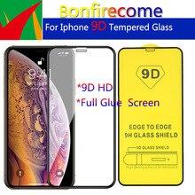 Lote de 10 protectores de pantalla de vidrio templado curvo con pegamento 9D para iPhone 6, 6s, 7, 8 Plus, X, XR, XS, 11, 12 Pro, Max