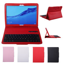 Tablet Bluetooth Keyboard Case Cover Ultra-Thin Magnetic Auto Tidur/AwakeTablet untuk Huawei Mediapad T5/C5 10.1 Inci 20J7(China)